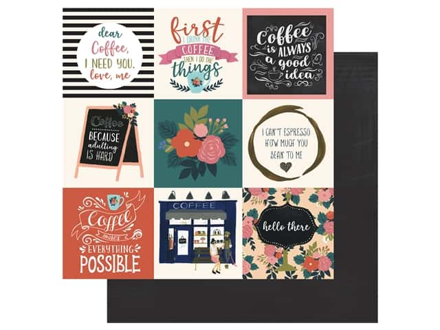 Echo Park Collection Coffee Paper 12 in. x 12 in. Journaling Cards 4 in. x 4 in.