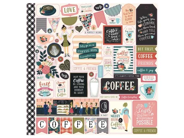 Echo Park Collection Coffee Sticker 12 in. x 12 in. Elements