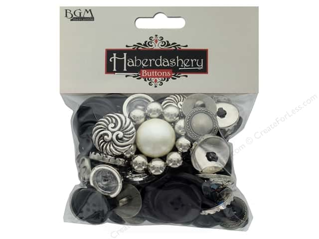 Buttons Galore Haberdashery Classic Buttons Black/Silver