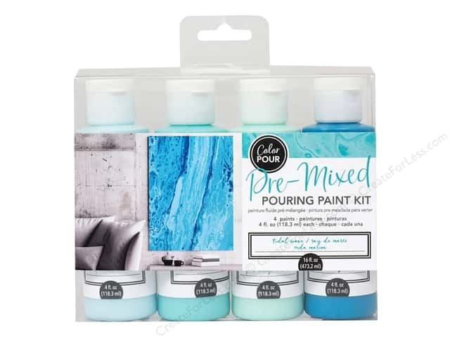 American Crafts Color Pour Pre Mixed Pouring Paint Kit - Tidal Wave