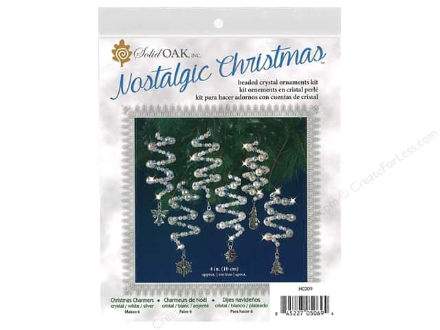 Solid Oak Kit Beaded Ornament Charmers Crystal/White/Silver