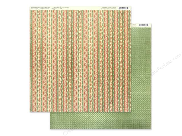 Graphic 45 Collection Christmas Magic Paper 12 in. x 12 in. Candy Cane Ribbons