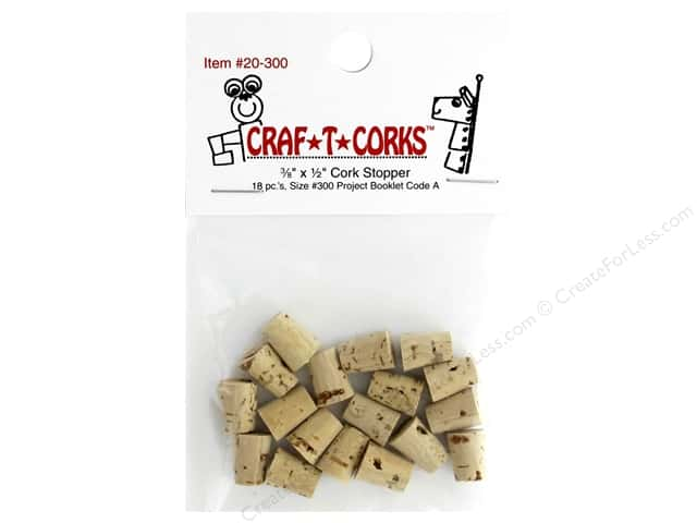 Hearts & Crafts Craf-T-Corks Cork Stopper 3/8 x 1/2 in. 18 pc.