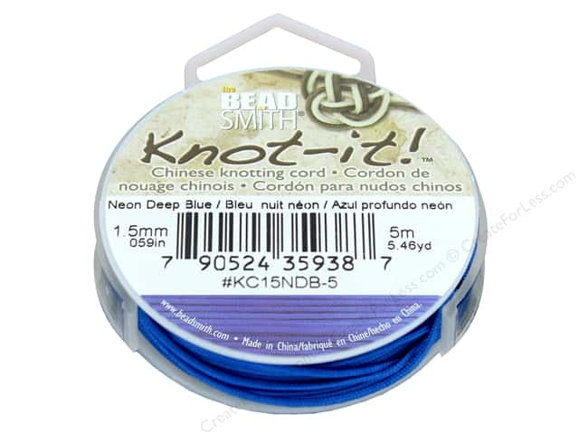 The Beadsmith Chinese Knotting Cord 1.5 mm Neon Deep Blue