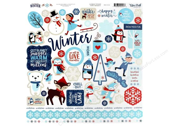 Echo Park Collection Celebrate Winter Sticker 12 in. x 12 in. Elements