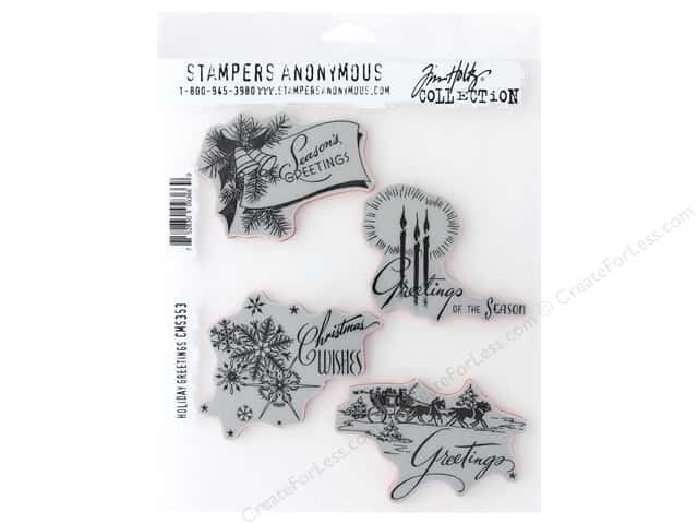 Stampers Anonymous Tim Holtz Cling Mount Stamp Set - Holiday Greetings