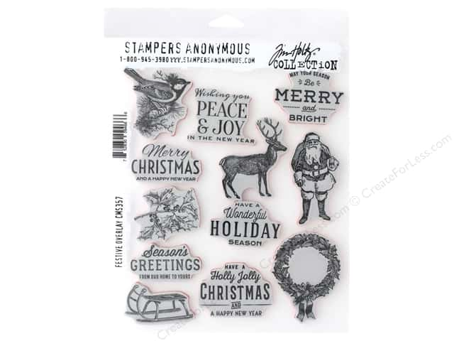 Stampers Anonymous Tim Holtz Cling Mount Stamp Set - Festive Overlay