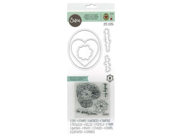 Sizzix Die & Stamp Jen Long Framelits Die With Stamp Poinsettia Wreath