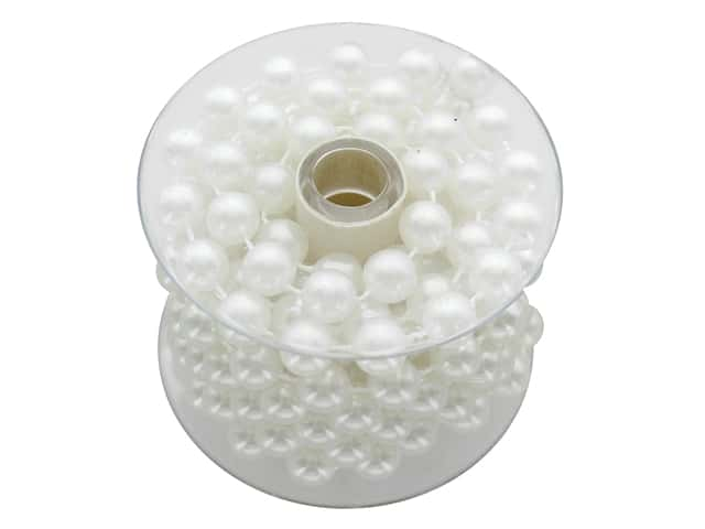 Sierra Pacific Crafts Decor Garland Plastic Spool 1.8 m White Pearls