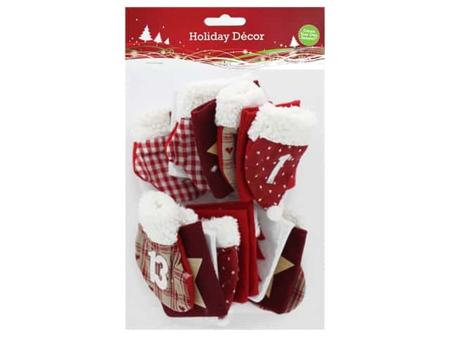 Sierra Pacific Crafts Decor Advent Numbered Bags Red/White 24 pc