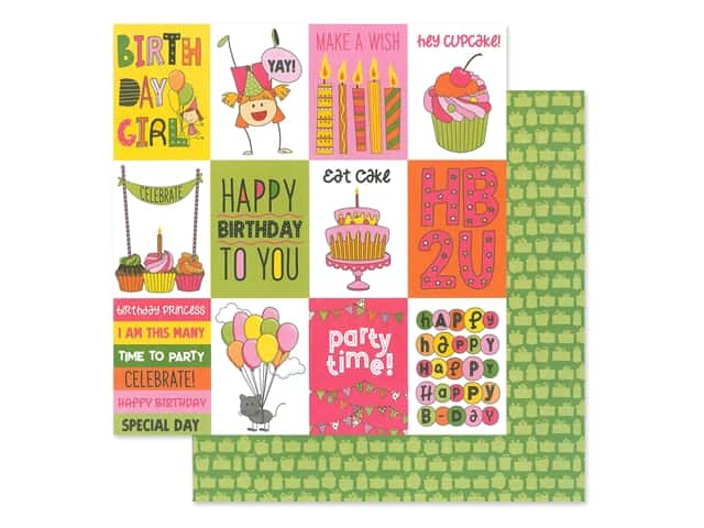 Photoplay Collection Birthday Wishes Girl Paper 12 in. x 12 in. Celebrate