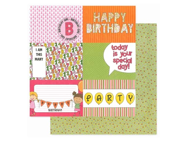Photoplay Collection Birthday Wishes Girl Paper 12 in. x 12 in. Hip Hip Hooray
