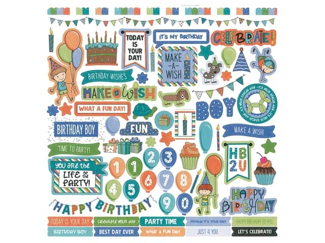 Photoplay Collection Birthday Wishes Boy Sticker Element 12 in. x 12 in.