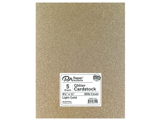 Paper Accents Glitter Cardstock 8.5 in. x 11 in. 85 lb Light Gold 5 pc