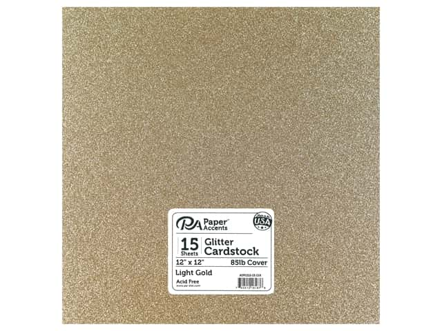 Paper Accents Glitter Cardstock 12 x 12 in. #G16 Light Gold (15 pieces)
