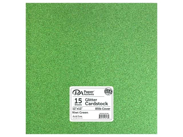 Paper Accents Glitter Cardstock 12 x 12 in. #G52 Kiwi Green 15 pc.