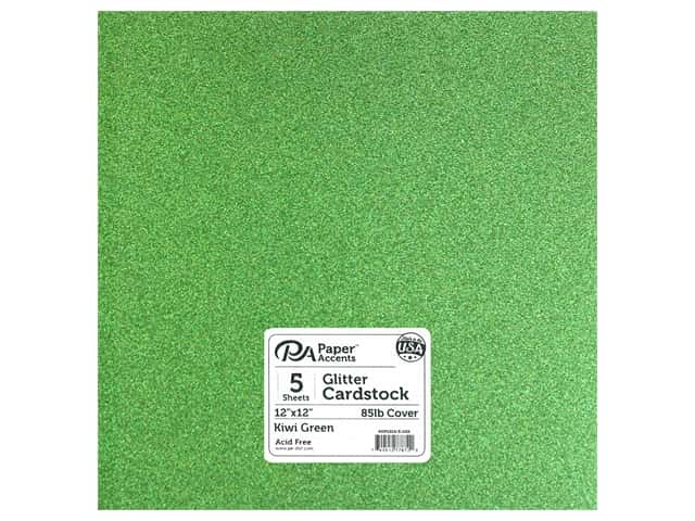 Paper Accents Glitter Cardstock 12 x 12 in. #G52 Kiwi Green 5 pc