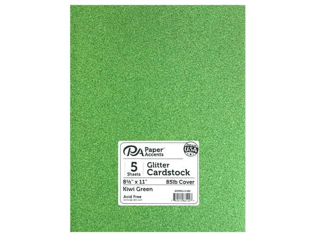 Paper Accents Glitter Cardstock 8 1/2 x 11 in. Kiwi Green 5 pc.
