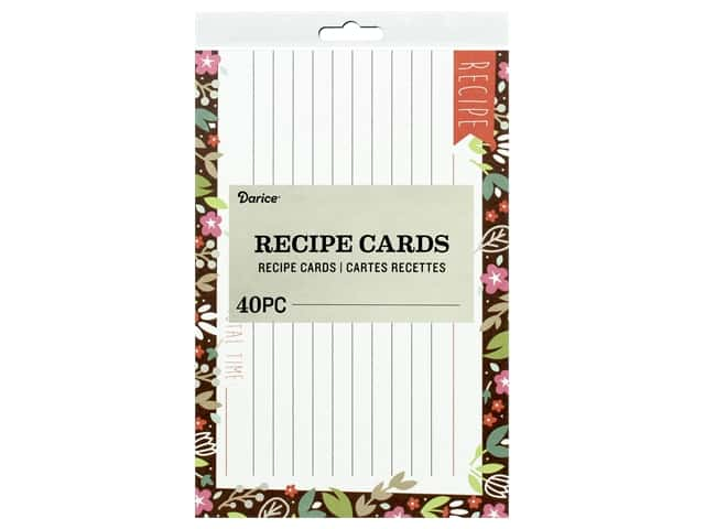 Darice Recipe Cards 40 pc. Floral