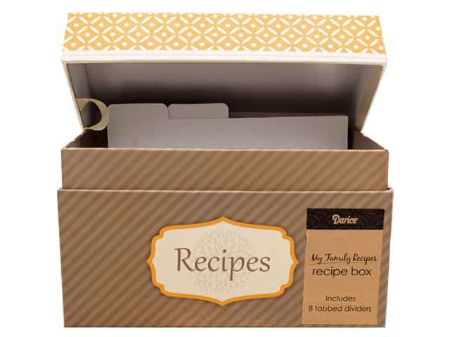 Darice My Family Recipes Recipe Card Box - Yellow & Grey