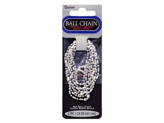 Darice Findings Chain 24 in. Ball Bar 2.4 mm Silver 2 pc