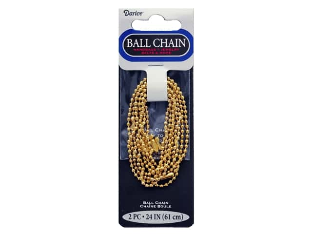 "Darice Findings Chain 24"" Ball 2.4 mm Gold 2 pc"