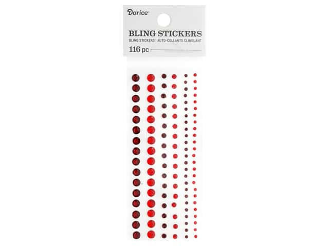 Darice Bling Stickers Assorted Round 116 pc. Red