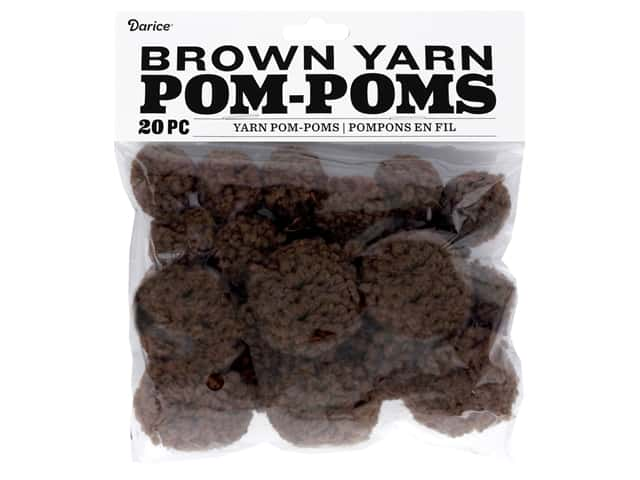 Darice Pom Poms Yarn 1 in. To 1.5 in. Brown 20 pc