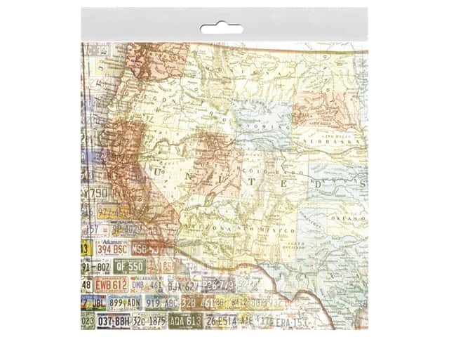 Paper House 12 in. x 12 in. Paper US Travel Map West