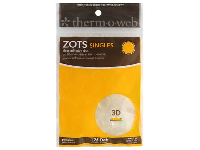 Therm O Web Zots Clear Adhesive Dots 125 pc. 1/2 x 1/8 in. Singles 3D