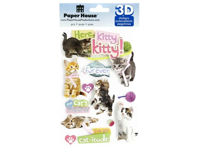 Paper House 3D Stickers - Here Kitty Kitty