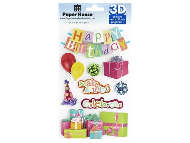 Paper House 3D Stickers - Happy Birthday