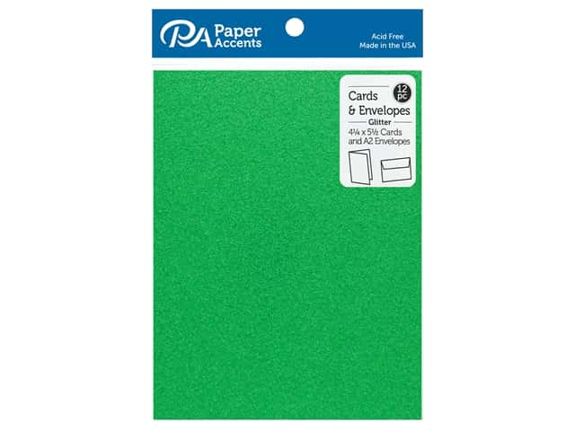 Paper Accents 4 1/4 x 5 1/2 in. Blank Card & Envelopes 12 pc. Glitter Green