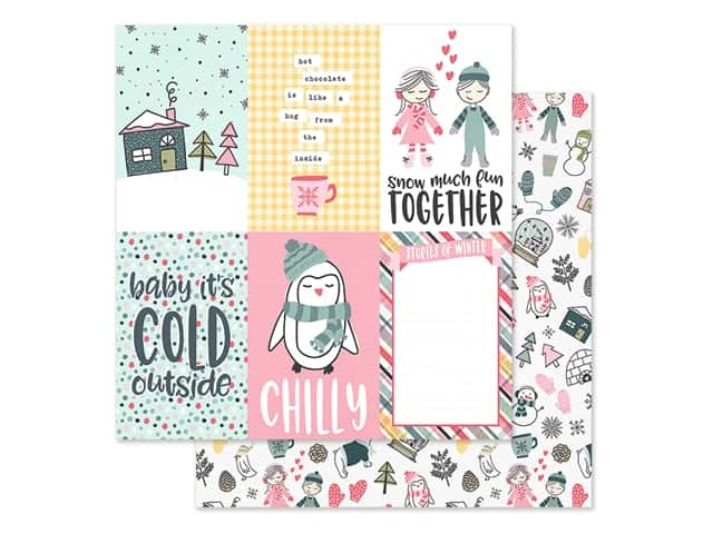 Simple Stories Collection Freezin Season Paper 12 in. x 12 in. Elements Vertical 4 in. x 6 in.