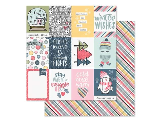 Simple Stories Collection Freezin Season Paper 12 in. x 12 in. Elements 3 in. x 4 in.