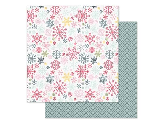 Simple Stories Collection Freezin Season Paper 12 in. x 12 in. Flurries