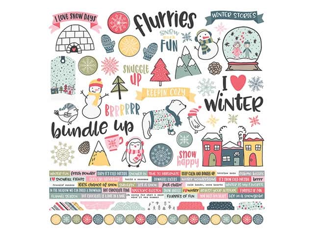 Simple Stories Collection Freezin Season Sticker 12 in. x 12 in.