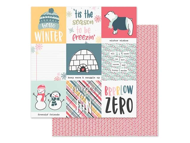 Simple Stories Collection Freezin Season Paper 12 in. x 12 in. Elements 4 in. x 4 in.