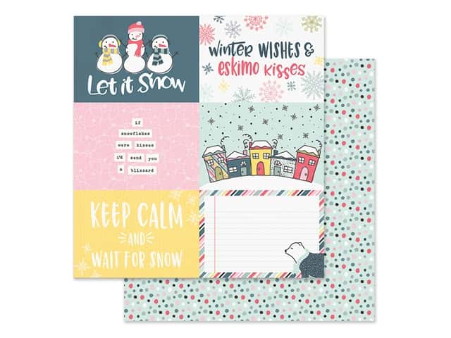 Simple Stories Collection Freezin Season Paper 12 in. x 12 in. Elements Horizontal 4 in. x 6 in.