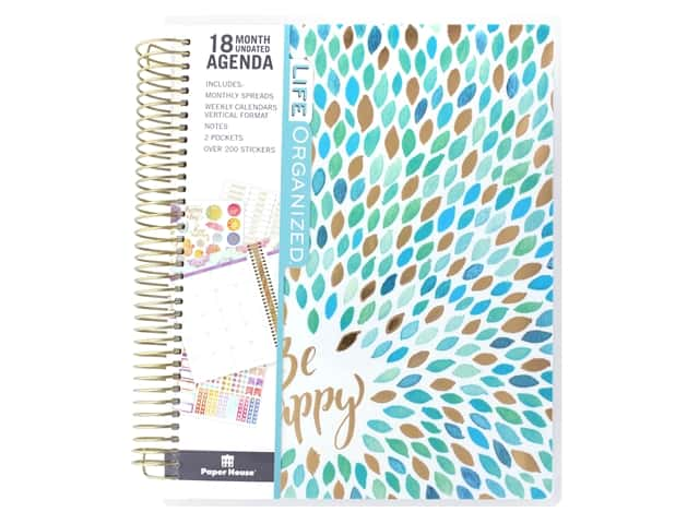 Paper House Collection Life Organized Planner 18 Month Leaves Be Happy