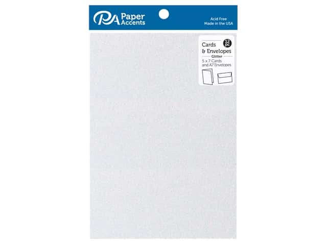 Paper Accents 5 x 7 in. Blank Card & Envelopes 12 pc. Glitter Iridescent White