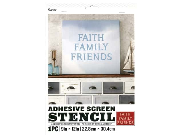 Darice Adhesive Screen Stencil 9 x 12 in. Faith Family Friends