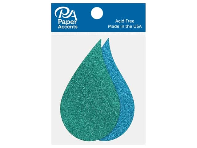 Paper Accents Glitter Shape Raindrops Prussian Blue, Ocean Blue 8 pc