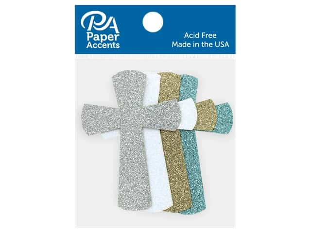 Paper Accents Glitter Shape Cross Gold, Silver, White, Blue 8 pc