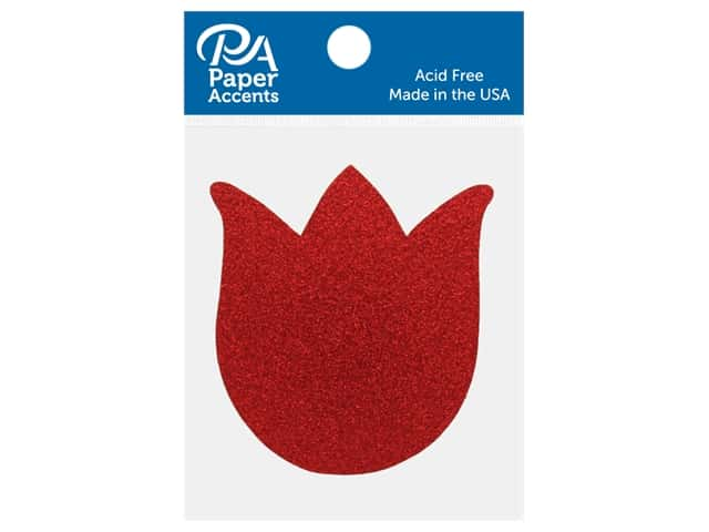 Paper Accents Glitter Shape Tulip Red 8 pc