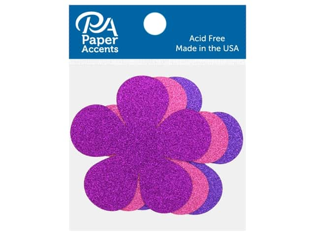 Paper Accents Glitter Shape Flower Power Rose, Grape, Purple 8 pc