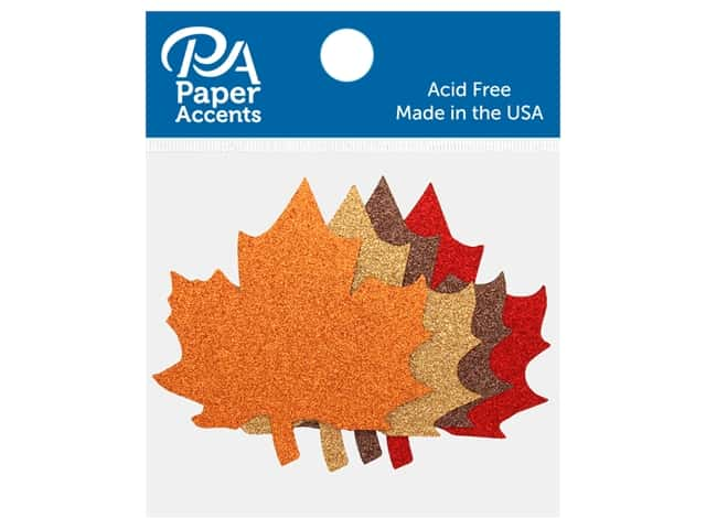 Paper Accents Glitter Shape Maple Leaf Red, Bronze, Champagne, Orange 8 pc