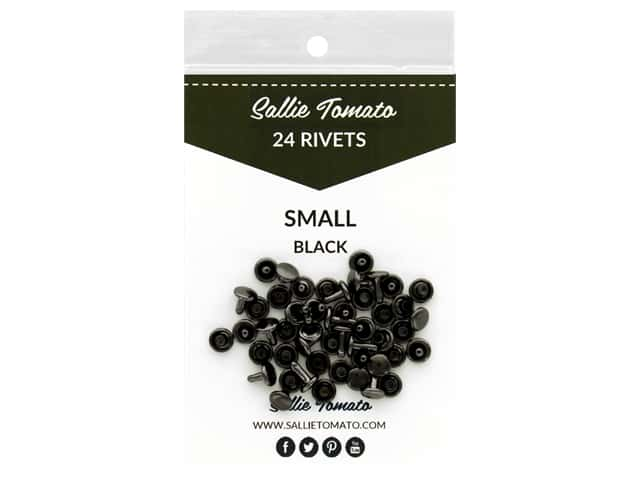 Sallie Tomato Hardware Double Cap Rivets Small Black/Gunmetal 24pc