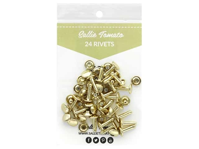 Sallie Tomato Hardware Double Cap Rivets Large Gold 24 pc