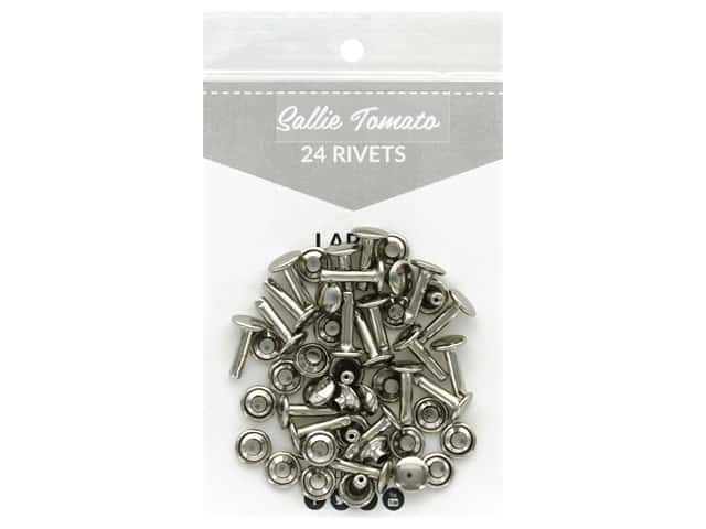 Sallie Tomato Hardware Double Cap Rivets Large Silver/Nickel 24 pc